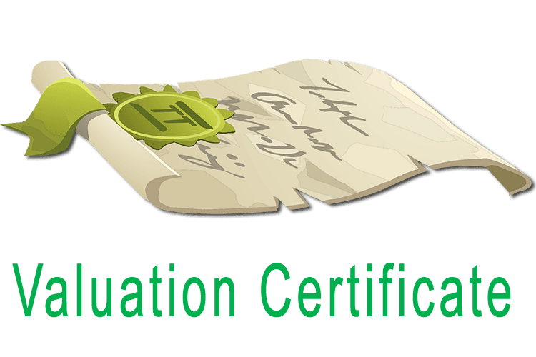 Rug valuation certificate illustration